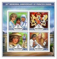Salomon 2017, Diana, Pope J. Paul II, Mother Teresa, 4val In BF IMPERFORATED - Mère Teresa