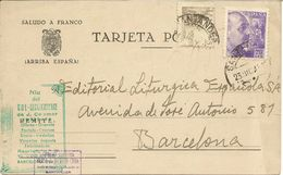 España Tarjeta Postal  Circulada  1943 - Enteros Postales