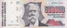 BILLETE DE ARGENTINA DE 500000 AUSTRALES DEL AÑO 1991 (BANKNOTE) - Argentina