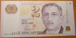 SINGAPORE  2 DOLLARS  2011 P-46d  Xf+  Polymer - Singapour