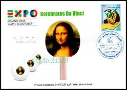 DZ 2014 FDC World Expo Milan 2015 Celebrates Da Vinci De Vinci Table Tennis Mona Lisa Joconde Gioconda Ping Pong - 2015 – Milano (Italia)