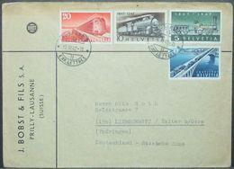 Switzerland - Advertising Cover To Germany 1947 Train Bridge - Trains
