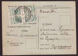 Luogotenenza, Coppia 2 Lire Pacchi Postali Su Cartolina Pacco Estero (firma Oliva)   -CU90 - 5. 1944-46 Lieutenance & Umberto II