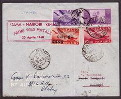 Repubblica, Busta Primo Volo Postale Roma-Nairobi Del 1948      -CU88 - 1946-.. République
