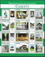 COLOMBIA, 2019, MNH,DEPARTAMENTOS DE COLOMBIA, CAQUETÁ, BIRDS, COSTUMES, MUSEUMS, COAT OF ARMS, MOUNTAINS, SHEETLET - Vögel