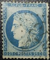 N°60A Cérès 25c Bleu. Variété (voir Filet De L'écusson Brisé+++) Oblitéré Losange G.C. N°673 Bulgnéville - 1871-1875 Ceres