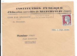 MARIANNE DECARIS > Variété De Cadre Et Effigie Décalés - Sur Devant De Lettre 1963 NEUFCHATEAU Vosges - Curiosidades: 1960-69 Cartas