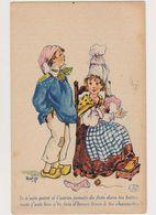 Cpa Fantaisie Signée Matéja / Couple De Paysans En Costume Traditionnel, La Femme Raccommodant Les Chaussettes - Künstlerkarten