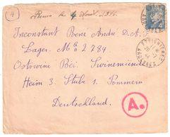 ETEIGNIERES Ardennes Lettre à Destination Prisonnier De Guerre En Allemagne Marque Ae 4F Pétain Yv 521A Ob 20 7 1944 - Lettres & Documents