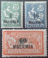 R1598/27 - 1921/1923 - COLONIES FR. - ALEXANDRIE - SERIE COMPLETE - N°61 à 63 NEUFS** - Nuovi