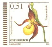 951  Sabot De Vénus: Entier (c.p.) D'Autriche, 2002. Timbre Imprimée Orchidée - Lady's-slipper Stationery Postc. Orchid - Orquideas