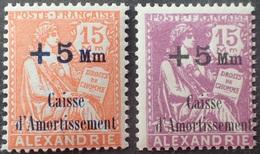 R1598/30 - 1927/1928 - COLONIES FR. - ALEXANDRIE - SERIE COMPLETE - N°81 à 82 NEUFS** - Nuovi