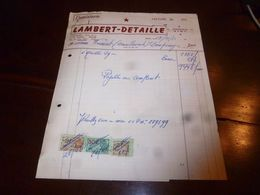 FF1 Document Commercial Facture Ebenisterie Lambert Detaille Nimy 1955 - Belgien
