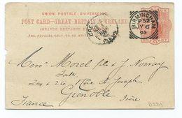 Great Britain Victoria 1d Orange Prepaid Postcard Birmingham P52  Clear And Crisp Squared Circle Posted 1895 - 1840-1901 (Victoria)
