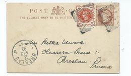 Great Britain Victoria 1/2d Orange  Plus Prepaid Postcard Bradford  Fl2   To Prussia Squared Circle Posted 1893 - 1840-1901 (Victoria)