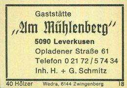 """1 Altes Gasthausetikett, Gaststätte """"Am Mühlenberg"""", Inh. H. + G. Schmitz, 5090 Leverkusen, Opladener Straße 61 #927 - Boites D'allumettes - Etiquettes"""