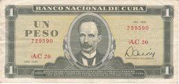 BILLETE DE CUBA DE 1 PESO DEL AÑO 1981 (BANK NOTE)  JOSE MARTI - Kuba