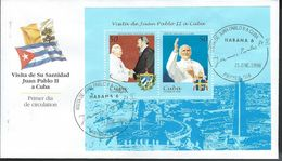 Cuba. Scott # 3894a-b, FDC S/sheet. Visit Of Pope John Paul II. 1998 - FDC
