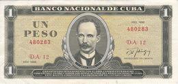 BILLETE DE CUBA DE 1 PESO DEL AÑO 1986 (BANK NOTE)  JOSE MARTI - Kuba