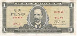 BILLETE DE CUBA DE 1 PESO DEL AÑO 1988 (BANK NOTE)  JOSE MARTI - Kuba