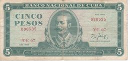BILLETE DE CUBA DE 5 PESOS DEL AÑO 1988 DE ANTONIO MACEO (BANKNOTE) - Kuba