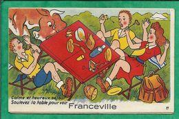 (Merville-) Franceville (14) Carte à Système (10 Vues) 2scans Taureau Pique-nique - Francia