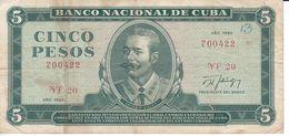 BILLETE DE CUBA DE 5 PESOS DEL AÑO 1990 DE ANTONIO MACEO (BANKNOTE) - Kuba