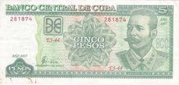 BILLETE DE CUBA DE 5 PESOS DEL AÑO 2007 DE ANTONIO MACEO (BANKNOTE) - Kuba