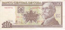 BILLETE DE CUBA DE 10 PESOS DEL AÑO 2002  (BANKNOTE) MAXIMO GOMEZ - Kuba