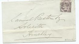 Great Britain Victoria  1d Lilac Sg172 Birmingham N54  Squared Circle Hinkley  Backstamp - Brieven En Documenten