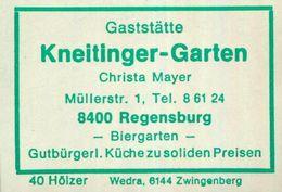 1 Altes Gasthausetikett, Gaststätte Kneitlinger-Garten, Christa Mayer, 8400 Regensburg, Müllerstr. 1 #928 - Boites D'allumettes - Etiquettes