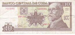 BILLETE DE CUBA DE 10 PESOS DEL AÑO 2014  (BANKNOTE) MAXIMO GOMEZ - Kuba