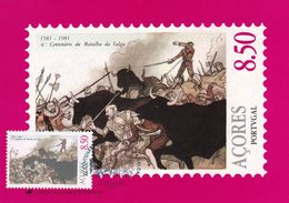 Portugal Azores 1981 Maximum Card: History; Battle Of Salga 1581; Spain - Portugal War; Bull; Sward; - History
