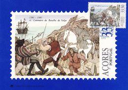 Portugal Azores 1981 Maximum Card: History; Battle Of Salga 1581; Spain - Portugal War; Horse ; Flags; Sailing Ship - History