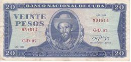 BILLETE DE CUBA DE 20 PESOS DEL AÑO 1989  (BANK NOTE)  CAMILO CIENFUEGOS - Kuba