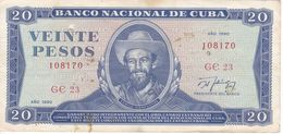 BILLETE DE CUBA DE 20 PESOS DEL AÑO 1990  (BANK NOTE)  CAMILO CIENFUEGOS - Kuba