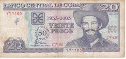 BILLETE DE CUBA DE 20 PESOS DEL AÑO 2003 - 50 ANIVERSARIO DEL MONCADA  (BANK NOTE)  CAMILO CIENFUEGOS - Kuba