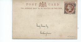 Great Britain Victoria    Squared Circle On 1/2d Prepaid Postcard Birmingham K54 Buckingham Backstamp - Brieven En Documenten