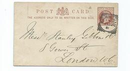 Great Britain Victoria    Squared Circle On 1/2d Prepaid Postcard Birmingham L49  1881 - 1840-1901 (Victoria)