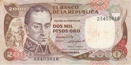 BILLETE DE COLOMBIA DE 2000 PESOS DE ORO DEL AÑO 1985 (BANK NOTE) - Colombia