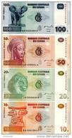 CONGO D.R. Set (4v) 10 20 50 100 Francs 2003 - 2013 P 93 94A 97 98 UNC - Congo