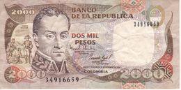 BILLETE DE COLOMBIA DE 2000 PESOS DE ORO DEL AÑO 1994 (BANK NOTE) - Colombia