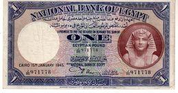 Egypt P.22c 1 Pound 1945 Xf - Egypte