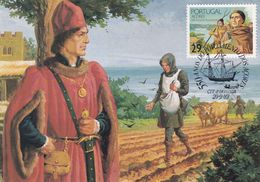 Portugal Azores 1989 Maximum Card: History: 550 Years Of Settlement Of Azores; Farming; Sailing Boats; Art Drawing - History