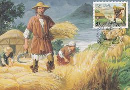 Portugal Azores 1989 Maximum Card: History: 550 Years Of Settlement Of Azores; Farming; Sailing Boats; Art Drawing; Ship - History