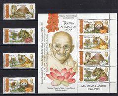 Tonga, 2015,Mahatma Gandhi, Fauna Of India 4 Stamps+ Block - Mahatma Gandhi