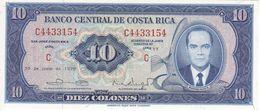 BILLETE DE COSTA RICA DE 10 COLONES DEL AÑO 1970 SIN CIRCULAR  (BANKNOTE) UNCIRCULATED - Costa Rica