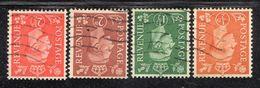 APR1669 - GRAN BRETAGNA 1950 , Unificato 4 Valori Con Filigrana Capovolta (manca L'oltremare) (2380A). - 1902-1951 (Re)