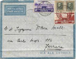 1935 R.MINISTERO Per La STAMPA E La PROPAGANDA/ A.O.I. Tondo Viola, Al Verso Di Busta Via Aerea, Affrancata Eritrea C.15 - Erythrée