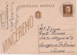 1943 MEZZOCORONA C.2 (24.9) Su Cartolina Postale Vinceremo C.30 Con Segnalazione Di Passaggio Prigioniero Di Guerra Per - Marcophilia